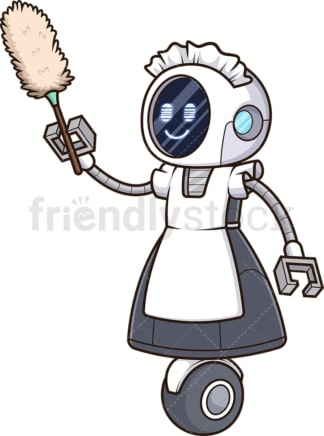 Robot maid. PNG - JPG and vector EPS file formats (infinitely scalable). Image isolated on transparent background.