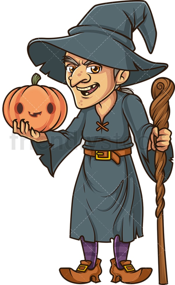 Witch holding halloween jack o lantern. PNG - JPG and vector EPS file formats (infinitely scalable). Image isolated on transparent background.