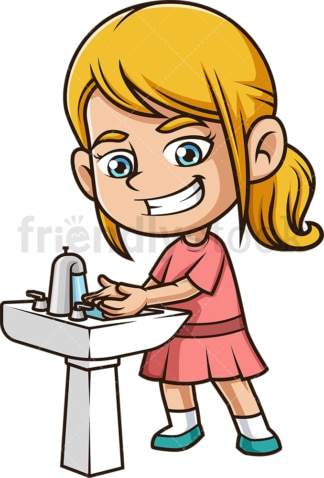 Little girl washing her hands. PNG - JPG and vector EPS (infinitely scalable).