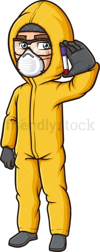 Man in hazmat suit holding test tube. PNG - JPG and vector EPS (infinitely scalable).
