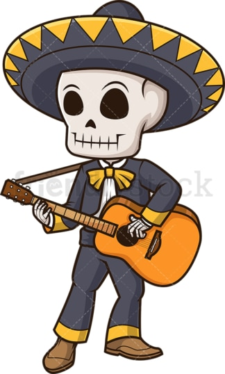 Mexican mariachi skeleton. PNG - JPG and vector EPS (infinitely scalable).