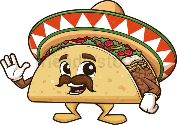 Mexican taco waving. PNG - JPG and vector EPS (infinitely scalable).