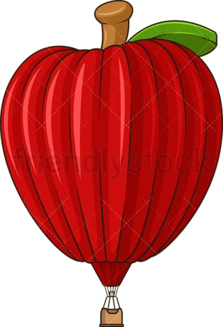 Red apple hot air balloon. PNG - JPG and vector EPS (infinitely scalable).