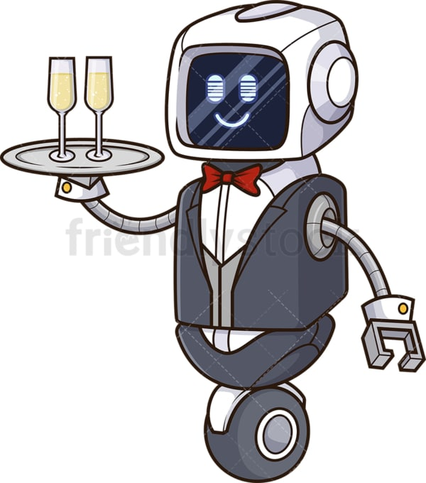 Robot butler. PNG - JPG and vector EPS file formats (infinitely scalable). Image isolated on transparent background.