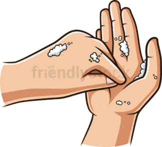 Cleaning finger tips during handwashing. PNG - JPG and vector EPS (infinitely scalable).