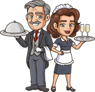 Maid and butler. PNG - JPG and vector EPS file formats (infinitely scalable). Image isolated on transparent background.