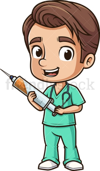 Male nurse holding syringe. PNG - JPG and vector EPS (infinitely scalable).