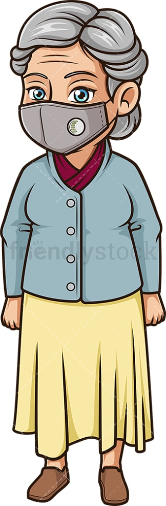 Mature woman with surgical mask. PNG - JPG and vector EPS (infinitely scalable).