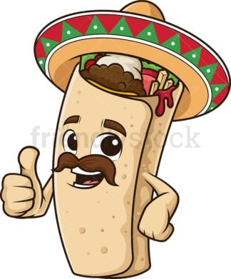 Mexican burrito thumbs up. PNG - JPG and vector EPS (infinitely scalable).