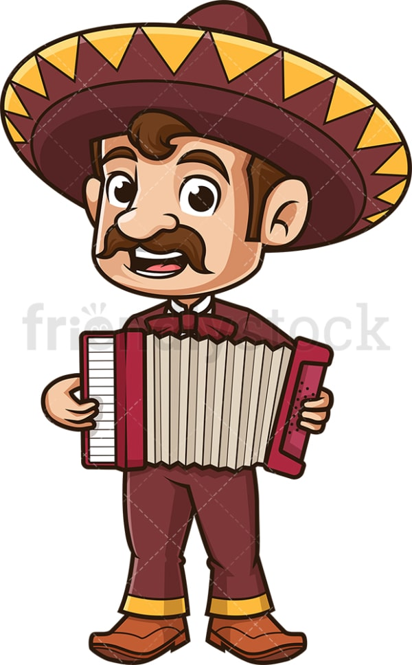 Mexican mariachi playing accordion. PNG - JPG and vector EPS (infinitely scalable).