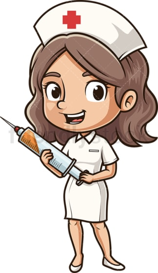 Nurse holding syringe. PNG - JPG and vector EPS (infinitely scalable).