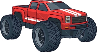 Red monster truck. PNG - JPG and vector EPS (infinitely scalable).