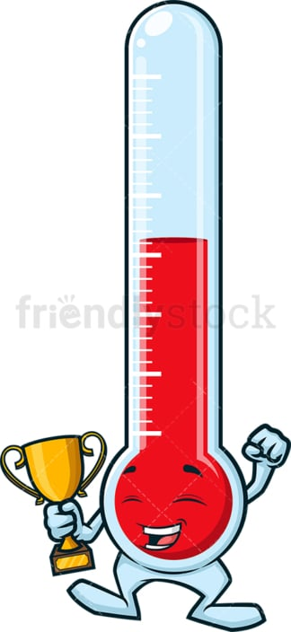 Thermometer holding gold trophy. PNG - JPG and vector EPS (infinitely scalable).