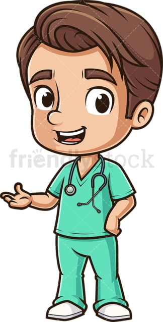 Cute male nurse presenting. PNG - JPG and vector EPS (infinitely scalable).
