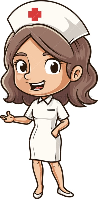 Cute nurse presenting. PNG - JPG and vector EPS (infinitely scalable).