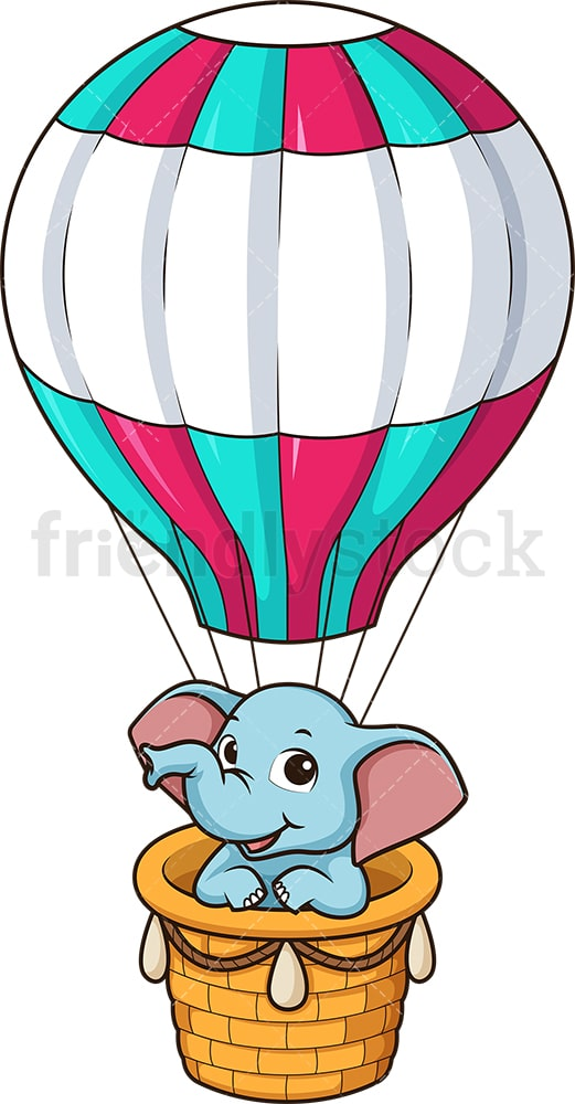 Elephant in hot air balloon. PNG - JPG and vector EPS file formats (infinitely scalable). Image isolated on transparent background.