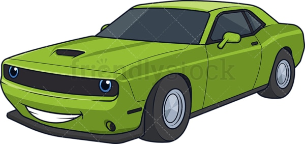 Green racing car smiling. PNG - JPG and vector EPS (infinitely scalable).