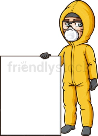 Man in hazmat suit with blank sign. PNG - JPG and vector EPS (infinitely scalable).