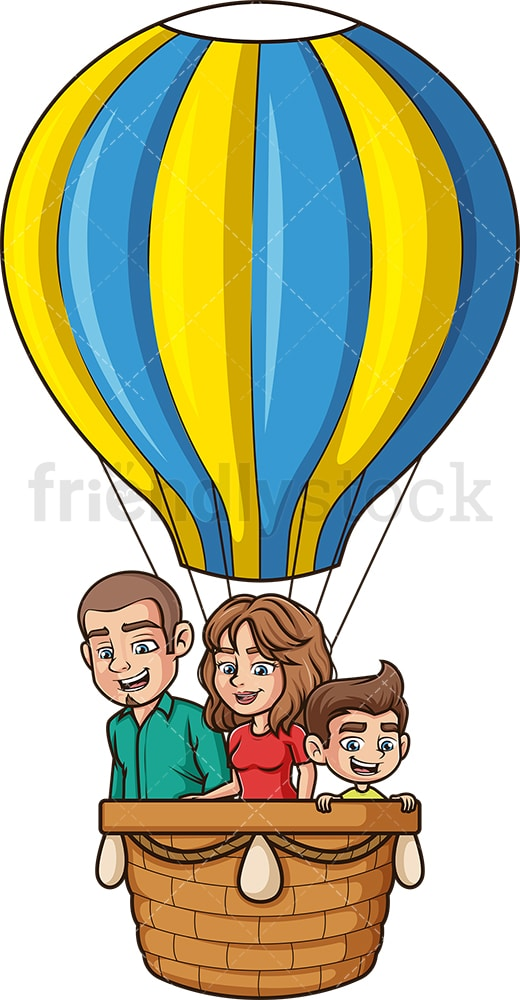 Family in hot air balloon. PNG - JPG and vector EPS file formats (infinitely scalable). Image isolated on transparent background.