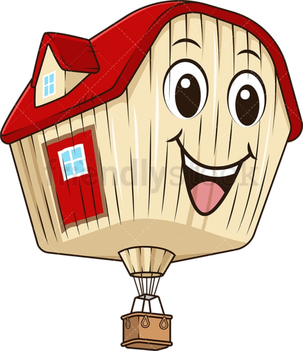 House shaped hot air balloon. PNG - JPG and vector EPS (infinitely scalable).