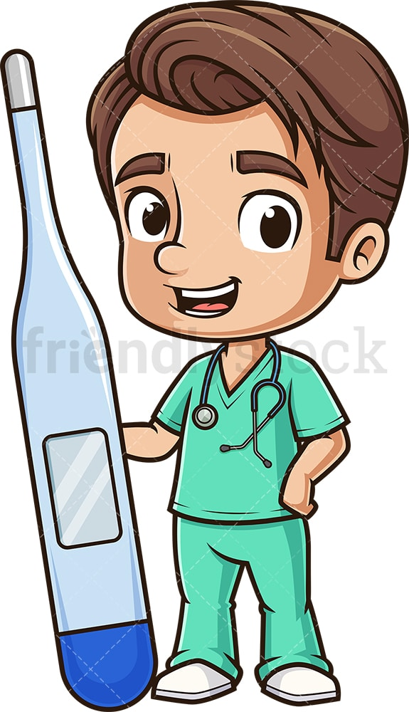 Male nurse holding thermometer. PNG - JPG and vector EPS (infinitely scalable).