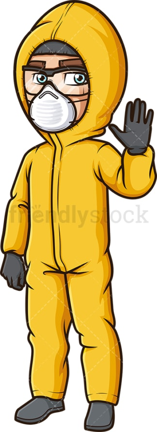 Man in hazmat suit making a stop gesture. PNG - JPG and vector EPS (infinitely scalable).