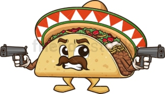 Mexican taco holding guns. PNG - JPG and vector EPS (infinitely scalable).