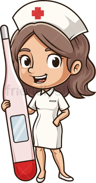 Nurse holding digital thermometer. PNG - JPG and vector EPS (infinitely scalable).