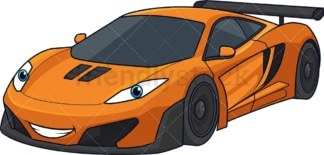 Orange sport racing car. PNG - JPG and vector EPS (infinitely scalable).