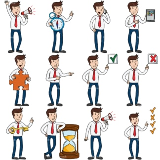 10 vector images of a young entrepreneur. PNG - JPG and vector EPS file formats (infinitely scalable).