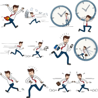 12 vector graphics of a businessman in a hurry. PNG - JPG and vector EPS file formats (infinitely scalable). Images isolated on transparent background.