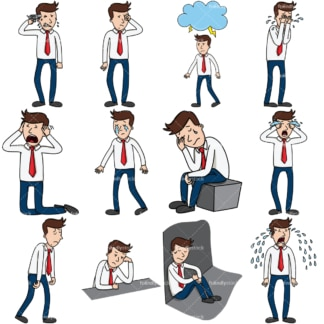 12 vector images of a businessman feeling sad & devastated. PNG - JPG and vector EPS file formats (infinitely scalable). Images isolated on transparent background.