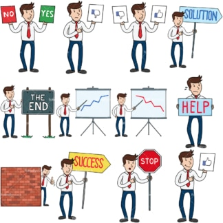 12 vector images of a businessman holding various signs. PNG - JPG and vector EPS file formats (infinitely scalable). Images isolated on transparent background.