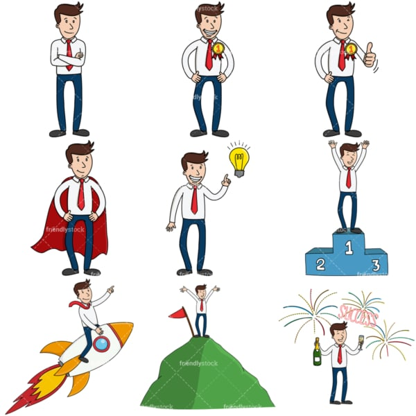 9 vector files of an entrepreneur in conceptual business poses. PNG - JPG and infinitely scalable vector EPS - on white or transparent background.