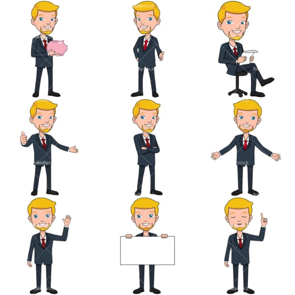 9 vector graphics of a businessman with a goatee. PNG - JPG and vector EPS file formats (infinitely scalable). Images isolated on transparent background.
