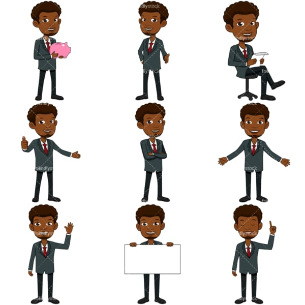 9 vector images of a black businessman with a goatee. PNG - JPG and vector EPS file formats (infinitely scalable). Images isolated on transparent background.