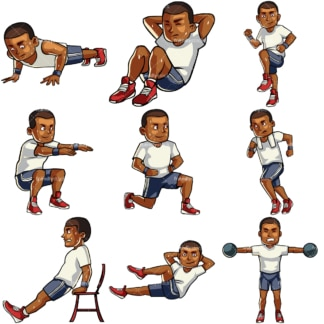 9 vector images of a black male working out. PNG - JPG and vector EPS file formats (infinitely scalable). Images isolated on transparent background.