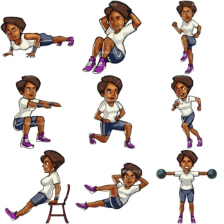 9 vector images of a black woman during workout. PNG - JPG and vector EPS file formats (infinitely scalable). Images isolated on transparent background.