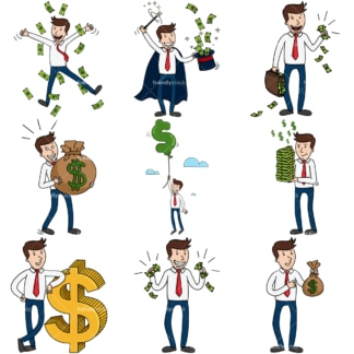9 vector images of a successful rich businessman. PNG - JPG and infinitely scalable vector EPS - on white or transparent background.