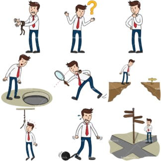 9 vector images of an entrepreneur facing difficult situations. PNG - JPG and infinitely scalable vector EPS - on white or transparent background.