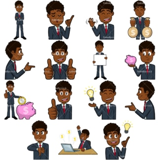 Black businessman vector collection no1. PNG - JPG and vector EPS file formats (infinitely scalable). Images isolated on transparent background.