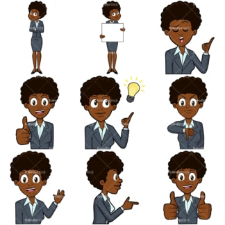 Black businesswoman vector collection. PNG - JPG and vector EPS file formats (infinitely scalable). Images isolated on transparent background.