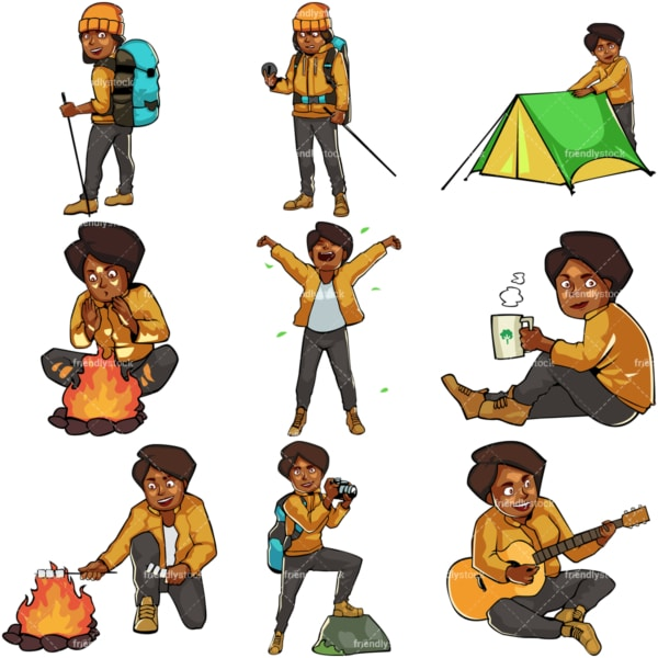Black female camping and hiking. PNG - JPG and vector EPS file formats (infinitely scalable). Images isolated on transparent background.