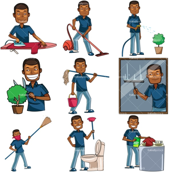 Black man doing housework. PNG - JPG and vector EPS file formats (infinitely scalable). Images isolated on transparent background.