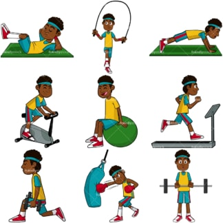 Black man working out vector collection. PNG - JPG and vector EPS file formats (infinitely scalable). Images isolated on transparent background.
