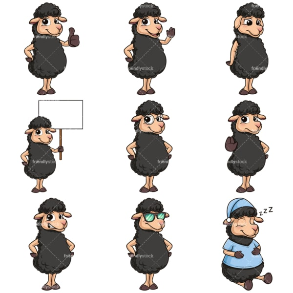Black sheep mascot character. PNG - JPG and infinitely scalable vector EPS - on white or transparent background.