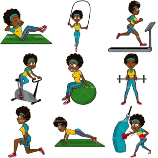Black woman working out vector bundle. PNG - JPG and vector EPS file formats (infinitely scalable). Images isolated on transparent background.