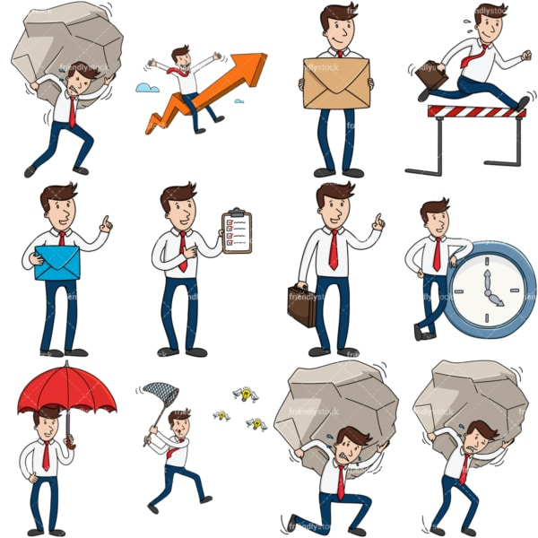 9 conceptual vector images of a casual businessman. PNG - JPG and vector EPS file formats (infinitely scalable).
