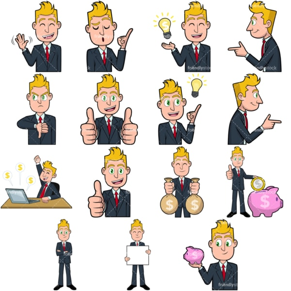 Businessman vector collection no1. PNG - JPG and vector EPS file formats (infinitely scalable). Images isolated on transparent background.
