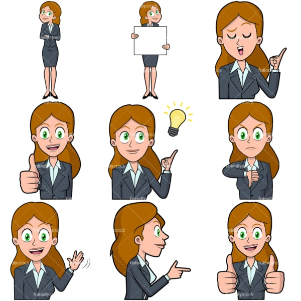 Businesswoman vector collection no1. PNG - JPG and vector EPS file formats (infinitely scalable). Images isolated on transparent background.